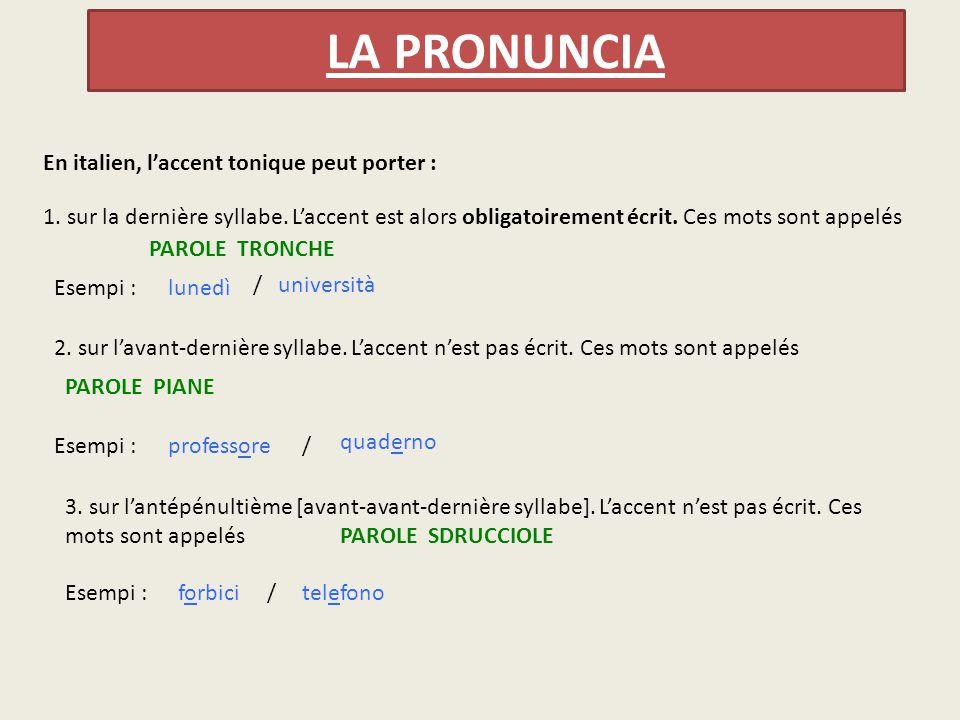 LA PRONUNCIA En italien, l'accent tonique peut porter :