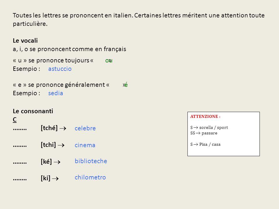 a, i, o se prononcent comme en français