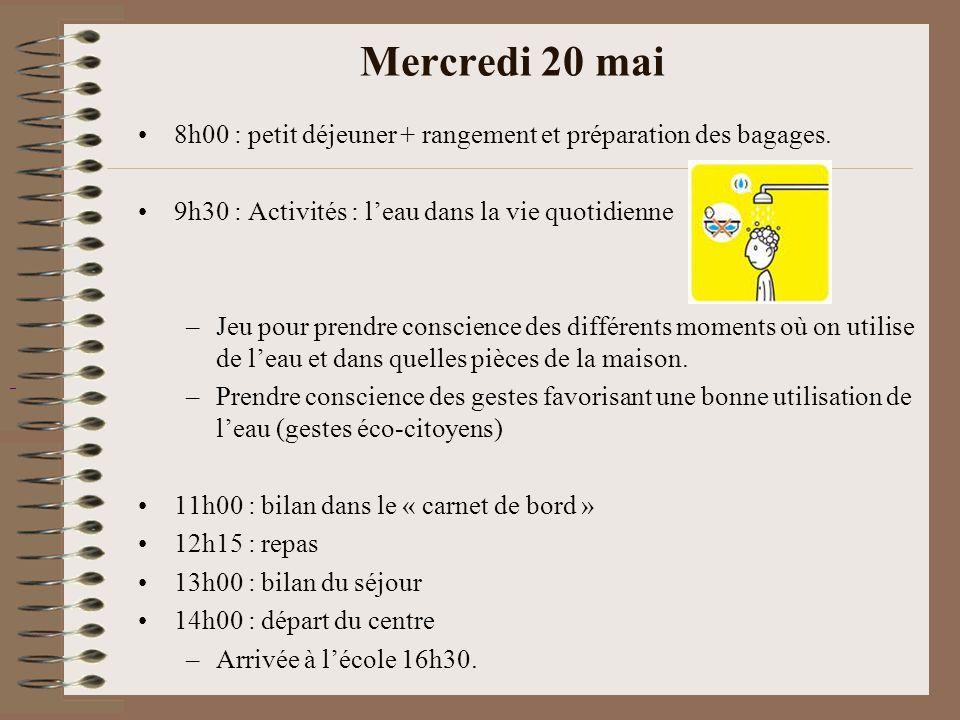 Mercredi 20 mai 8h00 : petit déjeuner + rangement et préparation des bagages. 9h30 : Activités : l'eau dans la vie quotidienne.
