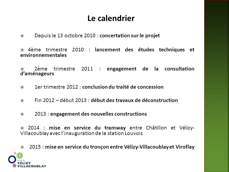 Le calendrier Depuis le 13 octobre 2010 : concertation sur le projet