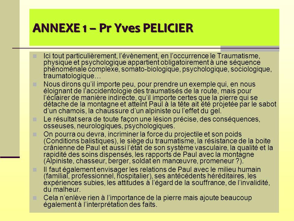 ANNEXE 1 – Pr Yves PELICIER