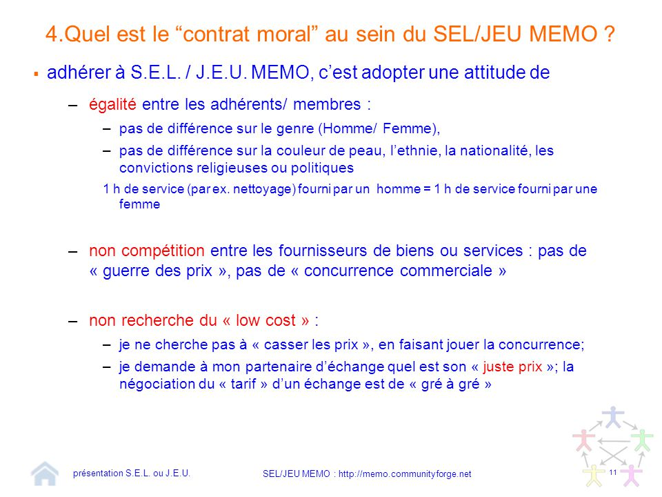 4.Quel est le contrat moral au sein du SEL/JEU MEMO