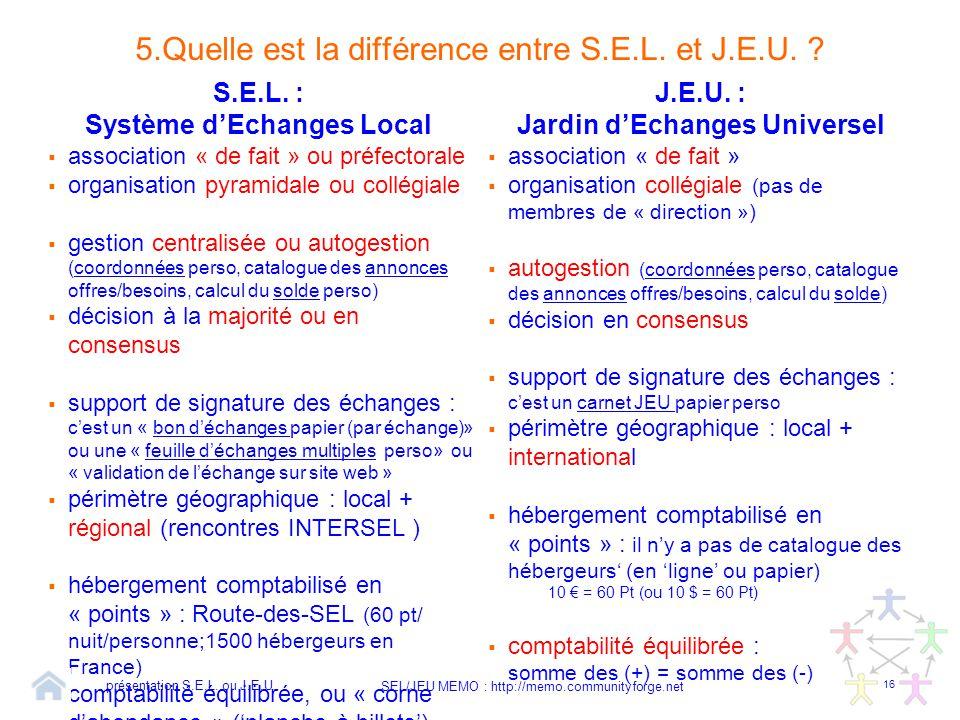 5.Quelle est la différence entre S.E.L. et J.E.U.