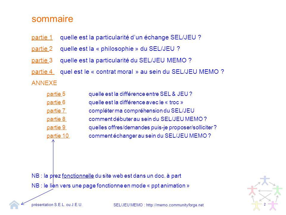 sommaire partie 1 quelle est la particularité d'un échange SEL/JEU