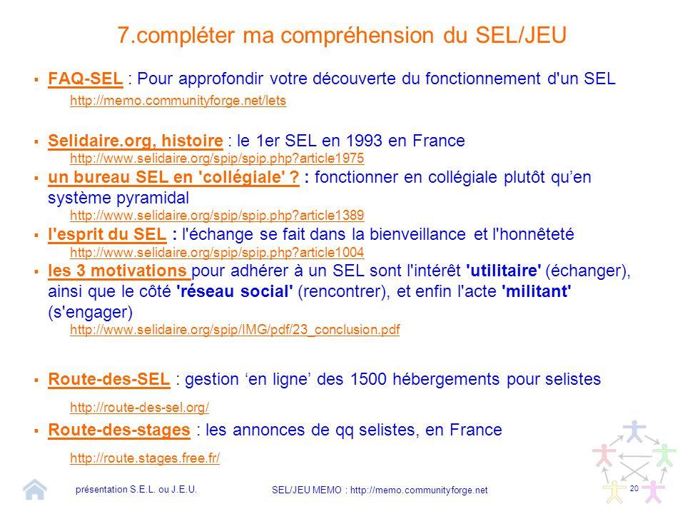 7.compléter ma compréhension du SEL/JEU