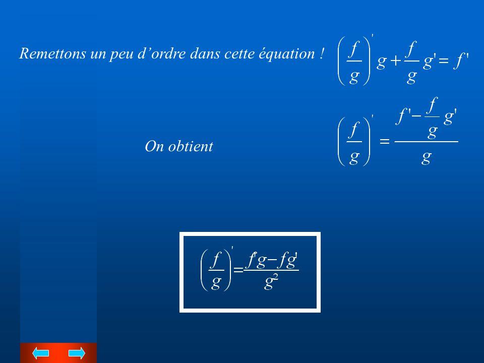 Remettons un peu d'ordre dans cette équation !