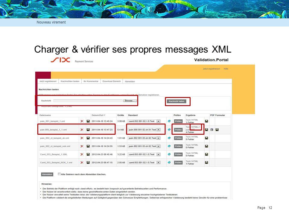 Charger & vérifier ses propres messages XML