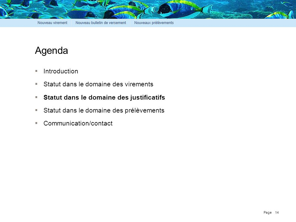 Agenda Introduction Statut dans le domaine des virements