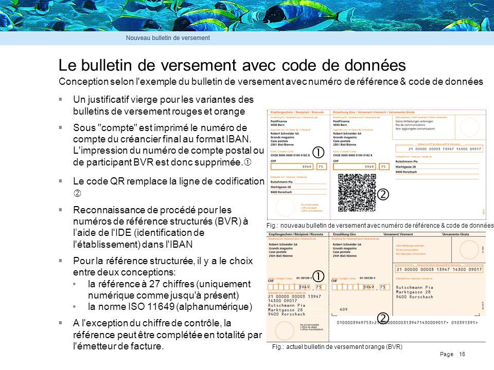 Le bulletin de versement avec code de données