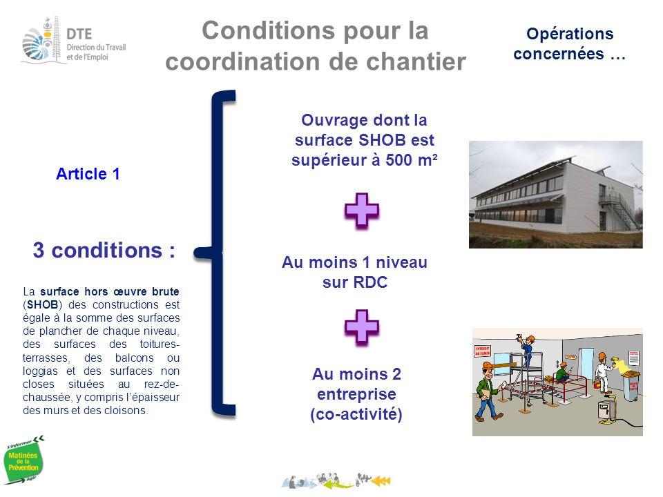 Conditions pour la coordination de chantier