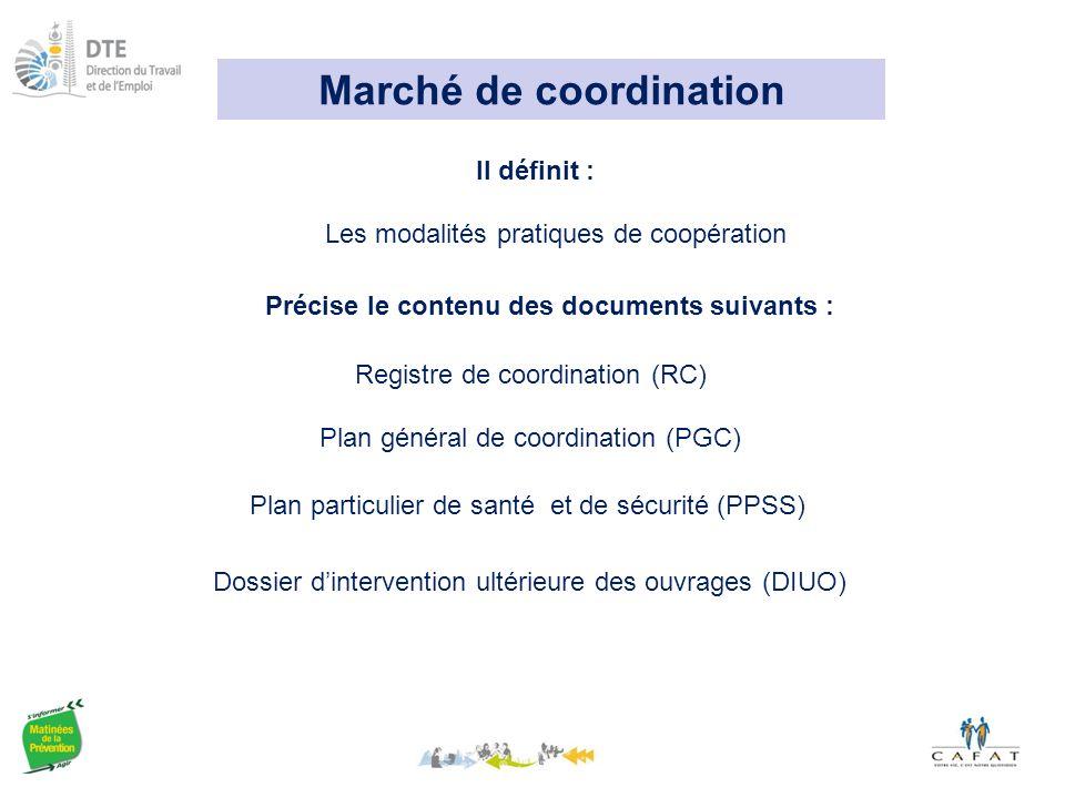 Marché de coordination Précise le contenu des documents suivants :