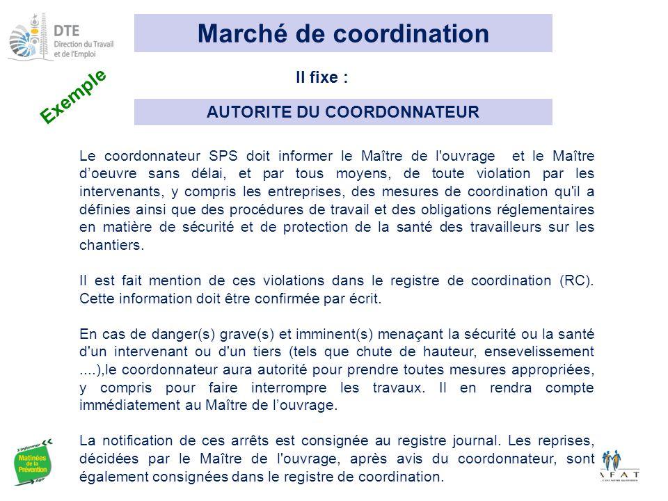 Marché de coordination AUTORITE DU COORDONNATEUR