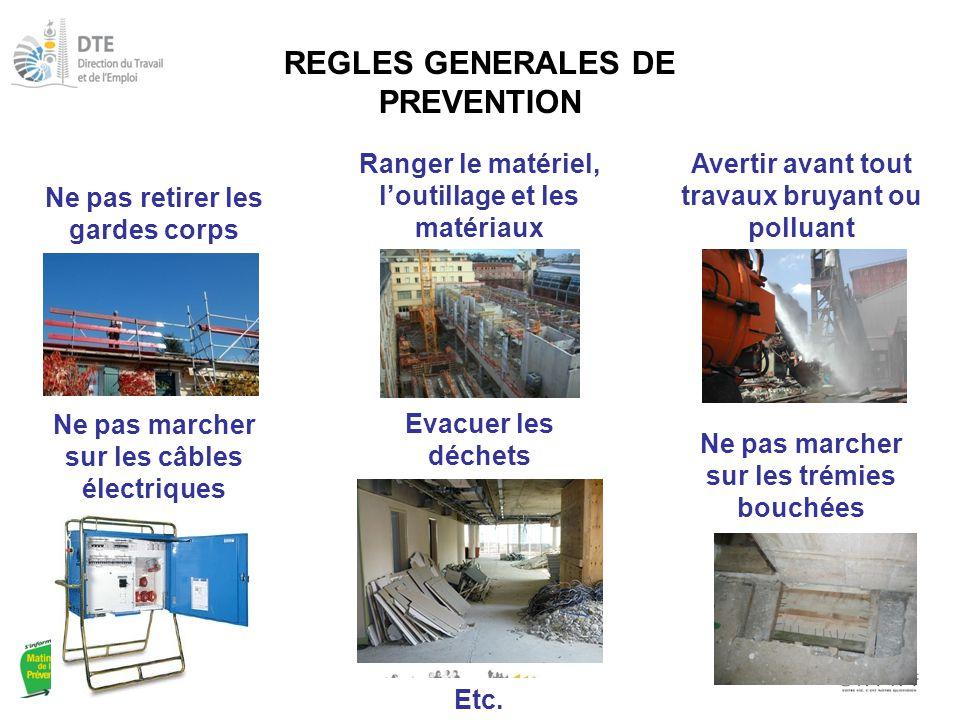 REGLES GENERALES DE PREVENTION