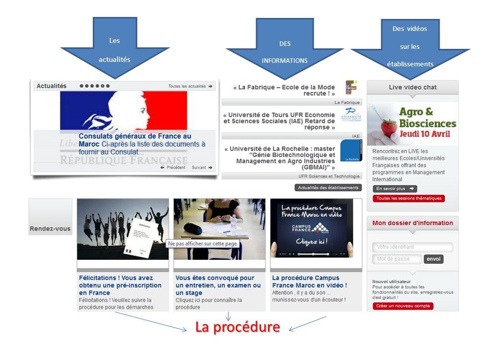 La La procédure Les actualités Des vidéos sur les établissements DES