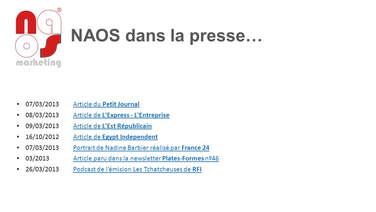 NAOS dans la presse… 07/03/2013 Article du Petit Journal
