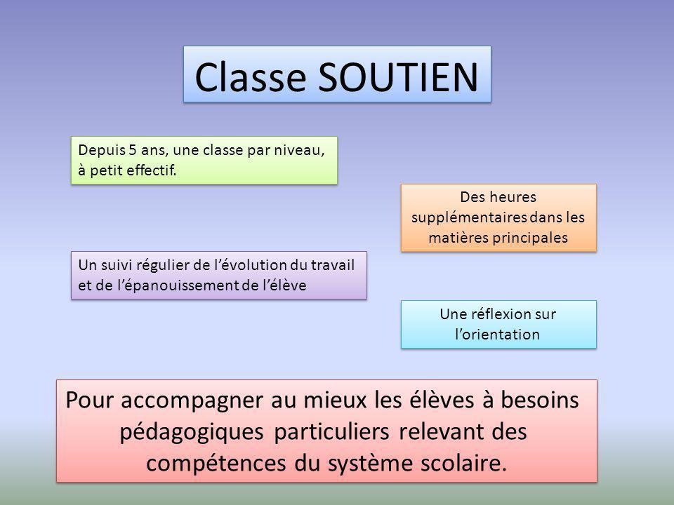 Classe SOUTIEN Pour accompagner au mieux les élèves à besoins