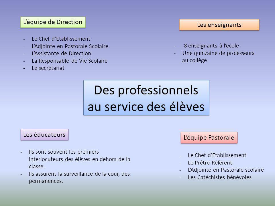 Des professionnels au service des élèves