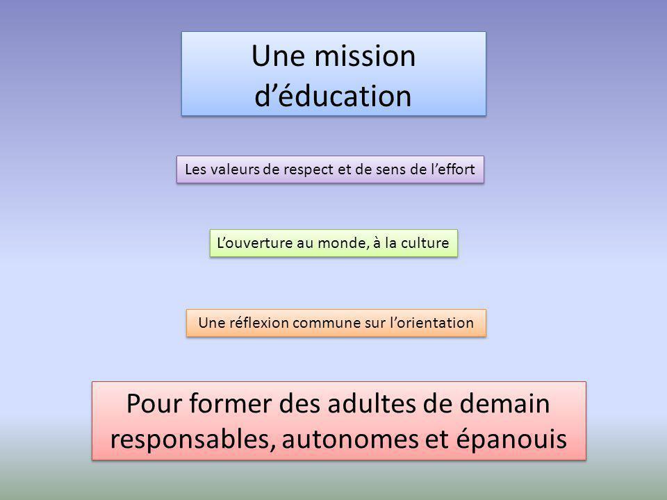 Une mission d'éducation