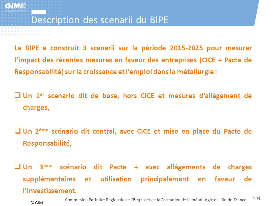Description des scenarii du BIPE