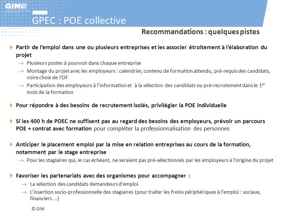GPEC : POE collective Recommandations : quelques pistes