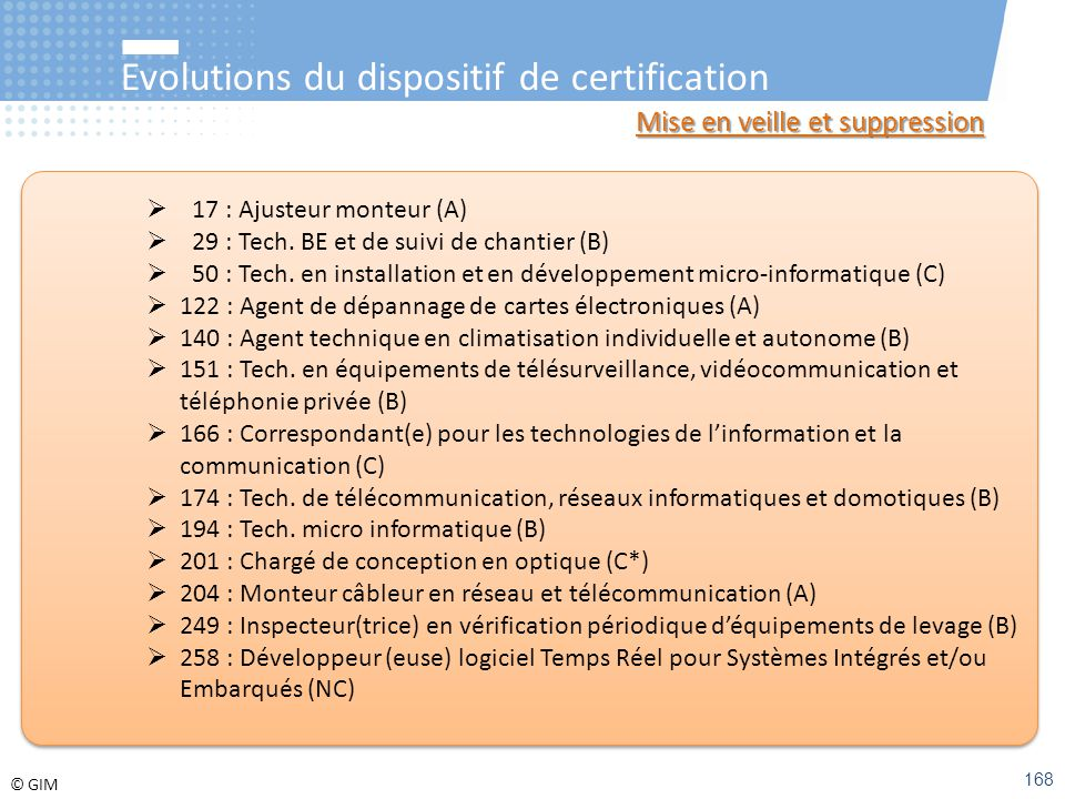 Evolutions du dispositif de certification