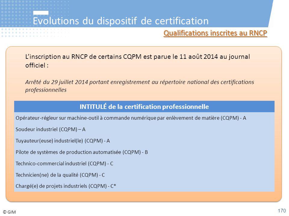 INTITULÉ de la certification professionnelle