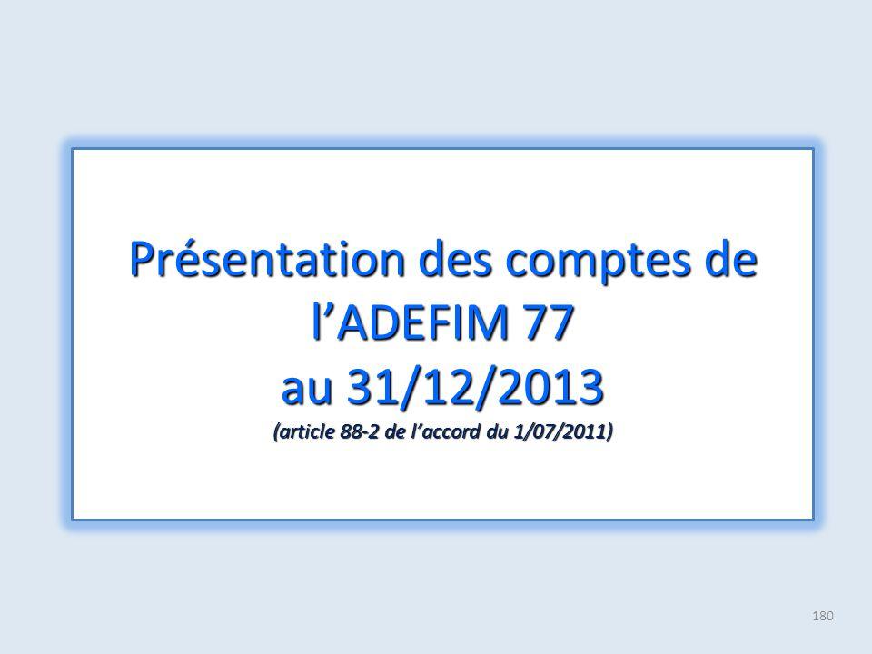 Présentation des comptes de l'ADEFIM 77 au 31/12/2013