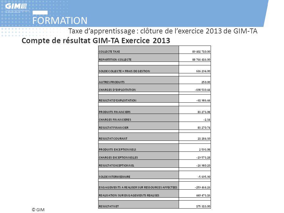FORMATION Compte de résultat GIM-TA Exercice 2013
