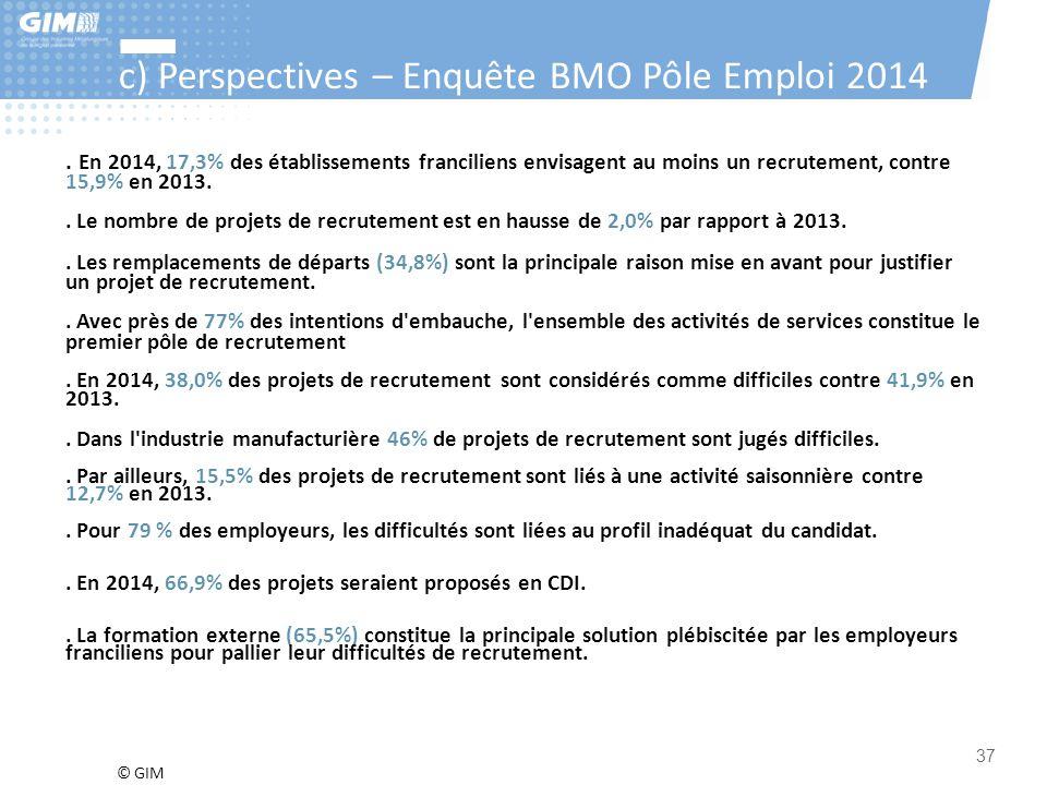 c) Perspectives – Enquête BMO Pôle Emploi 2014