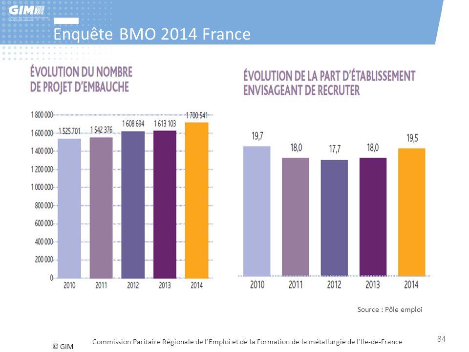 Enquête BMO 2014 France Source : Pôle emploi