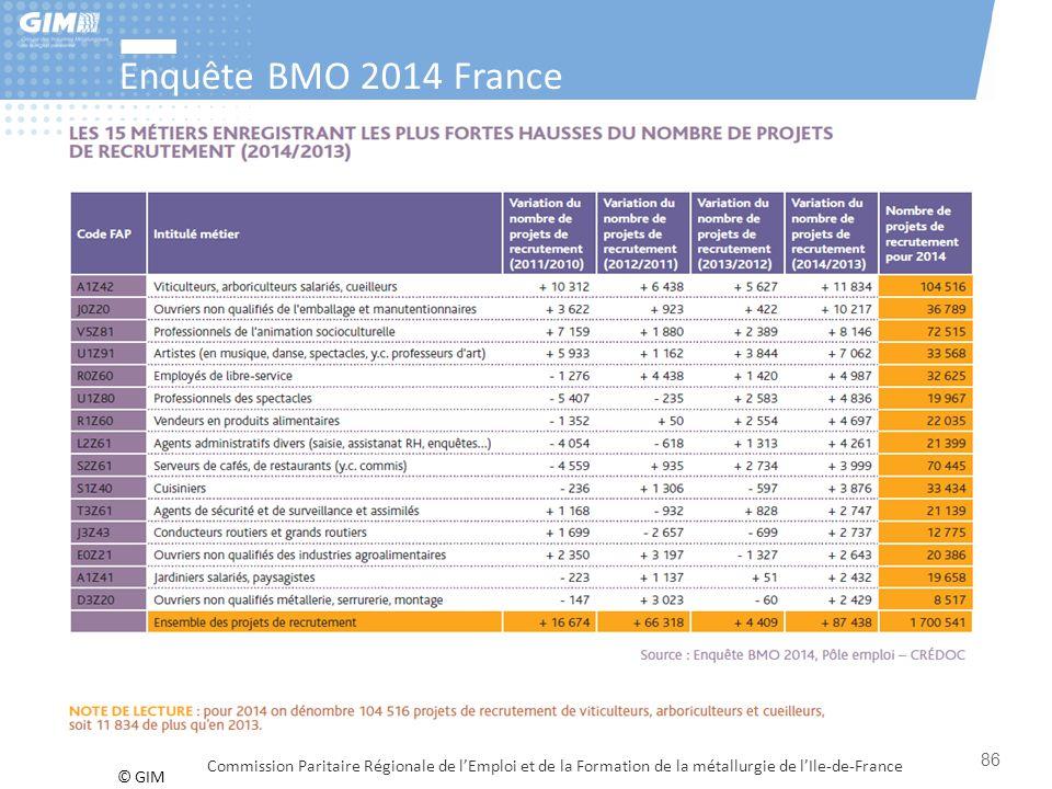 Enquête BMO 2014 France Commission Paritaire Régionale de l'Emploi et de la Formation de la métallurgie de l'Ile-de-France.