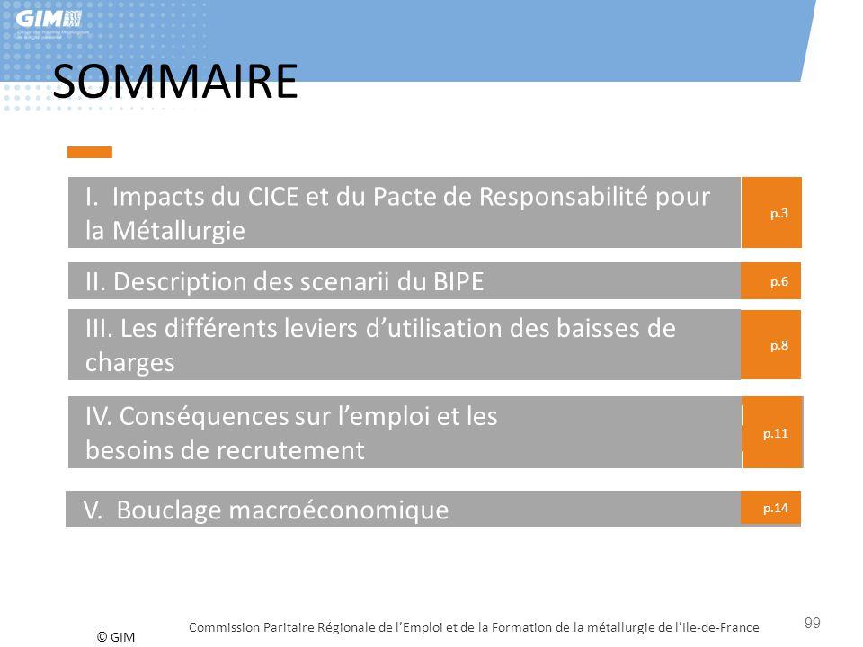 SOMMAIRE I. Impacts du CICE et du Pacte de Responsabilité pour la Métallurgie. p.3. II. Description des scenarii du BIPE.