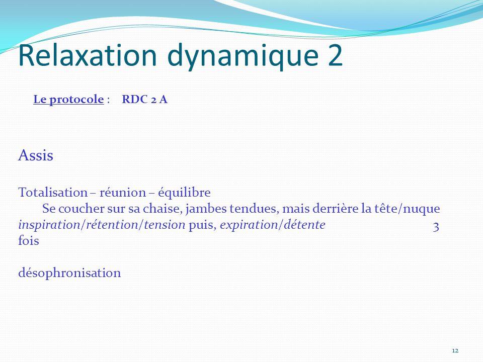 Relaxation dynamique 2 Assis Totalisation – réunion – équilibre