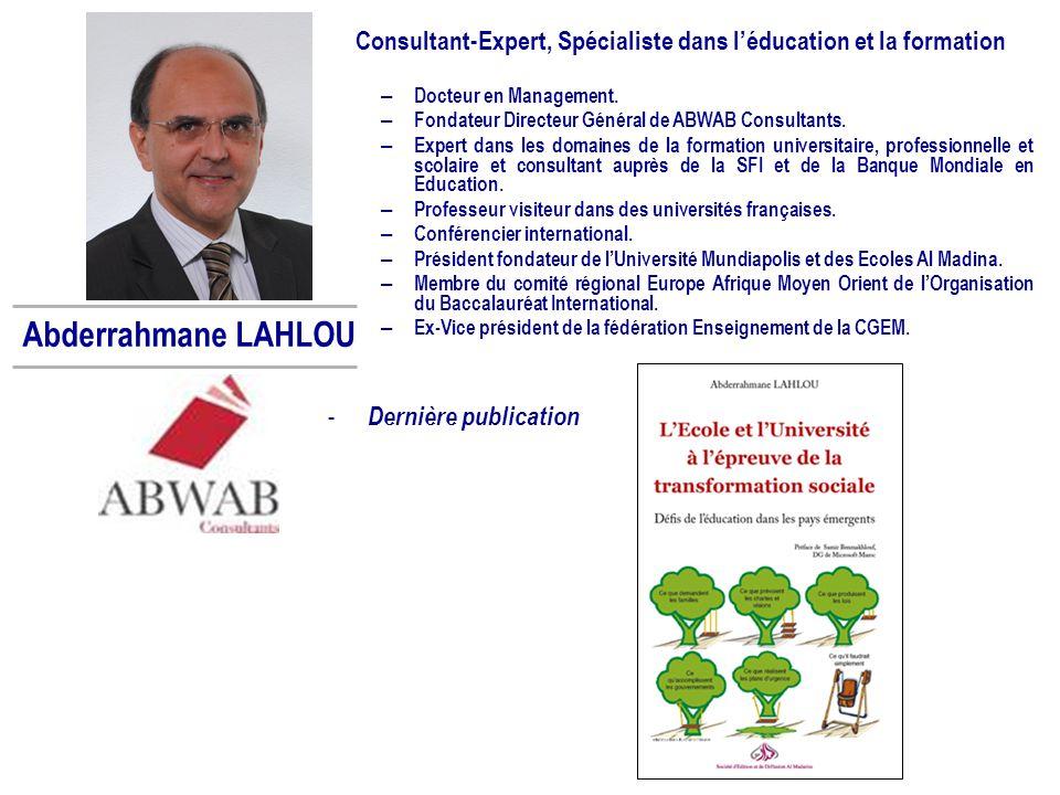 Consultant-Expert, Spécialiste dans l'éducation et la formation