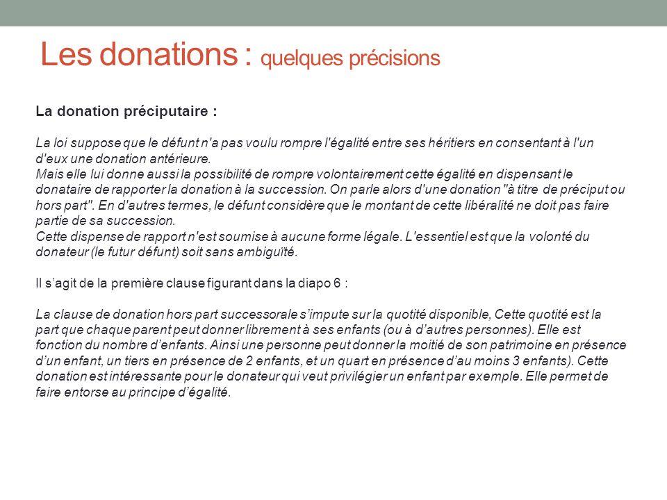 Les donations : quelques précisions
