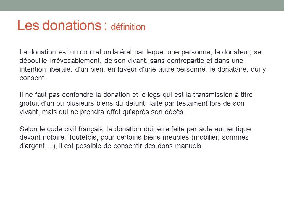 Les donations : définition