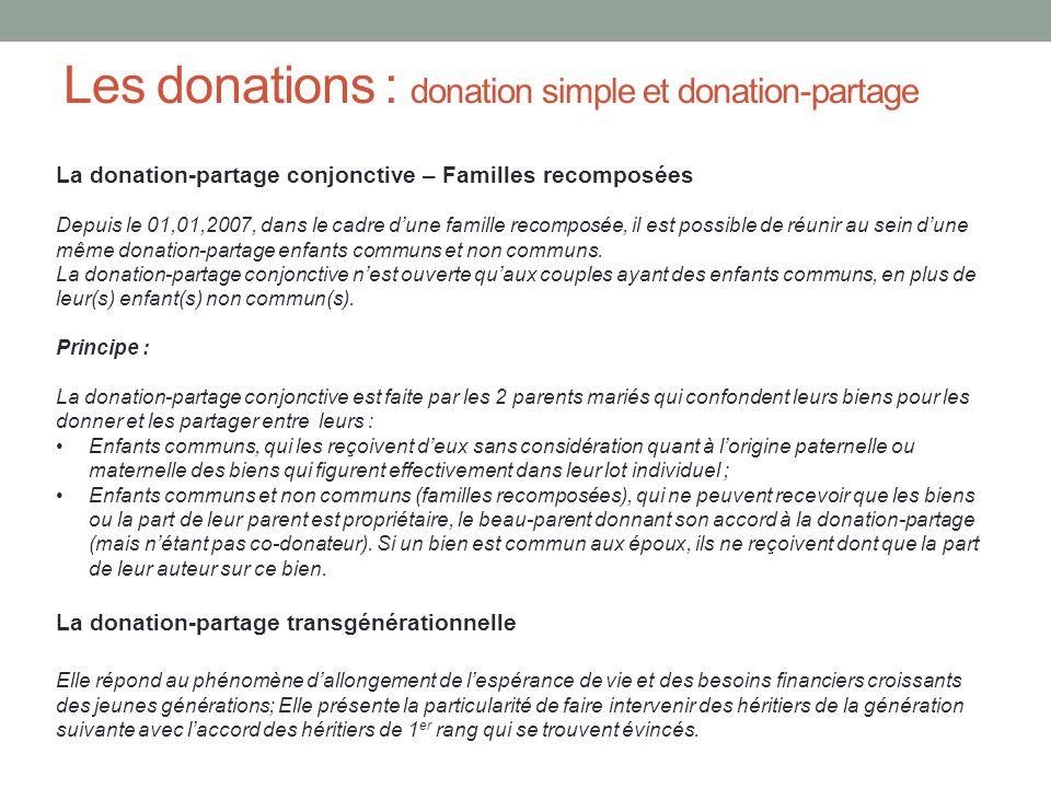 Les donations : donation simple et donation-partage