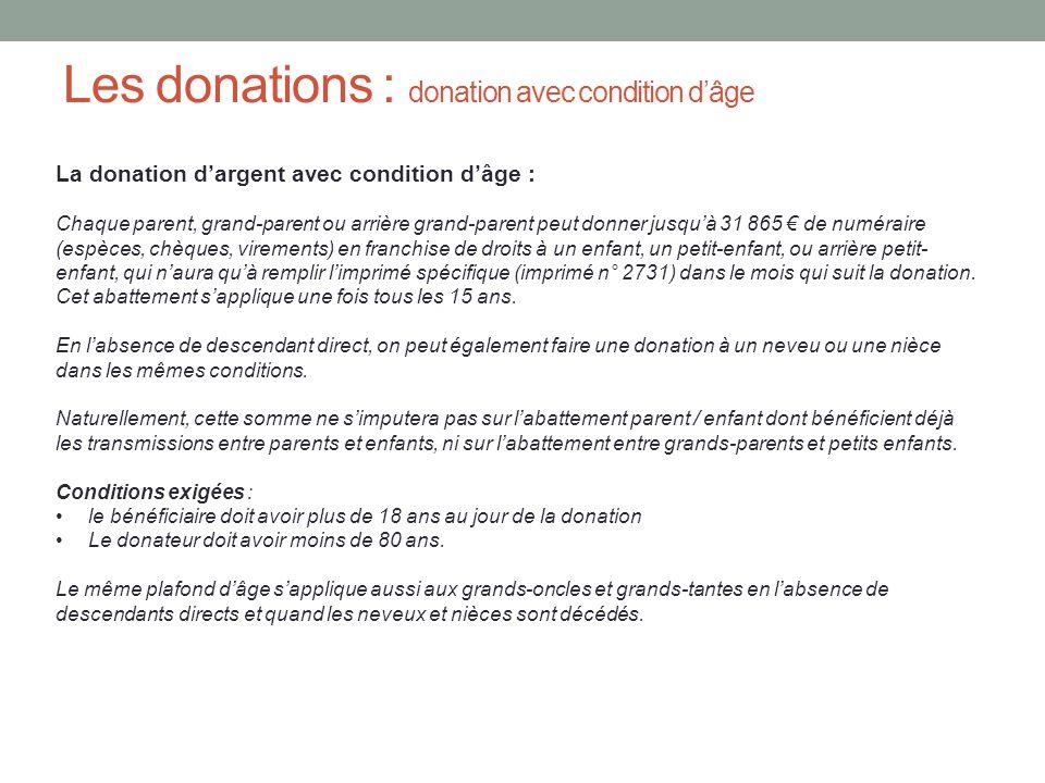 Les donations : donation avec condition d'âge