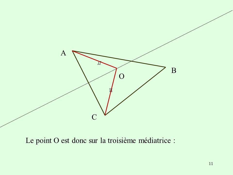 Le point O est donc sur la troisième médiatrice :