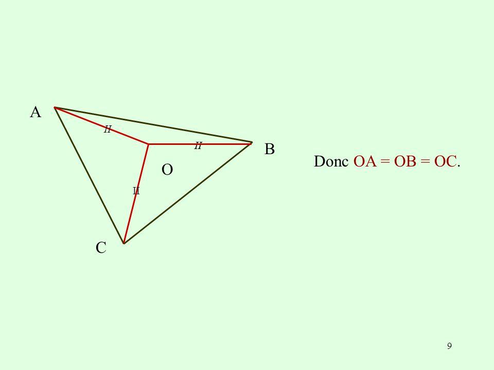II A C O B Donc OA = OB = OC.