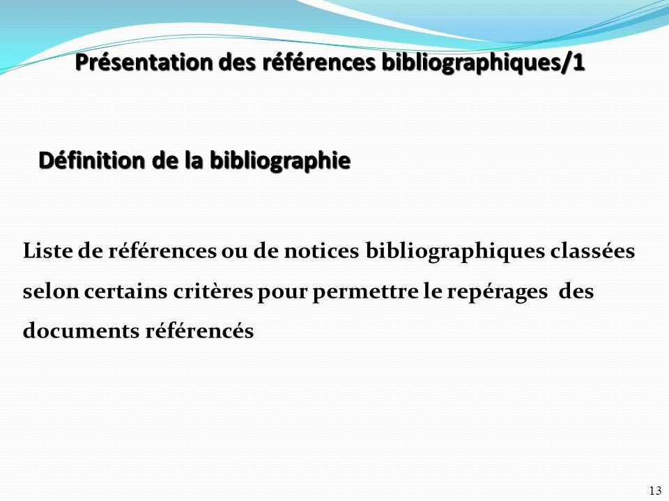 Présentation des références bibliographiques/1