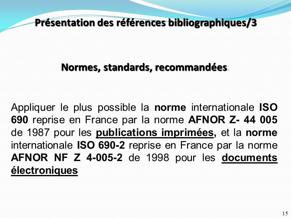 Présentation des références bibliographiques/3