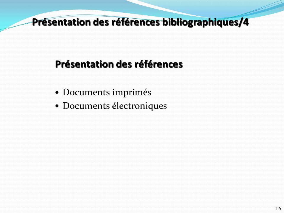 Présentation des références bibliographiques/4