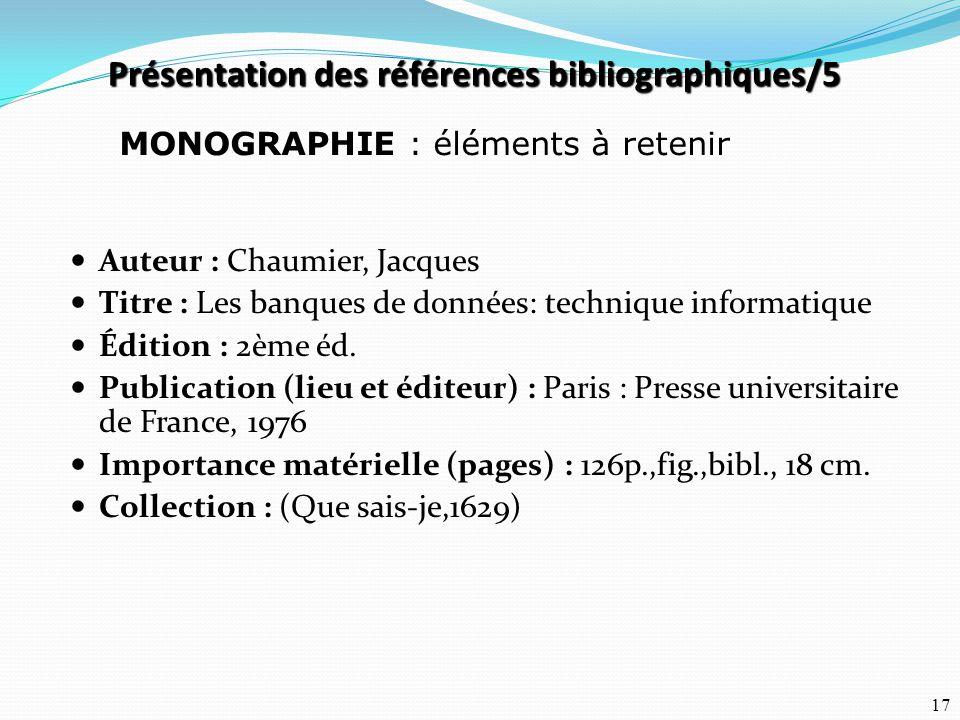 Présentation des références bibliographiques/5