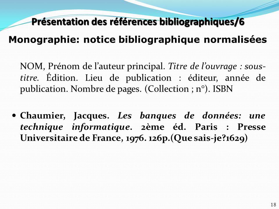 Présentation des références bibliographiques/6