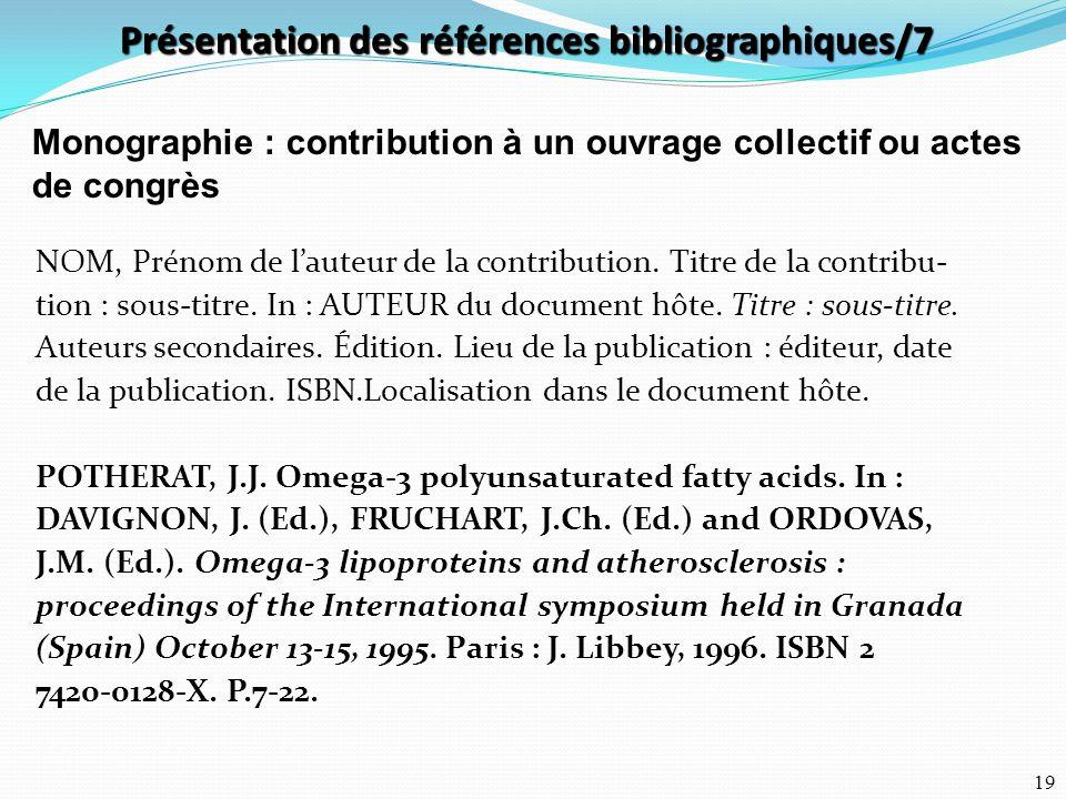 Présentation des références bibliographiques/7