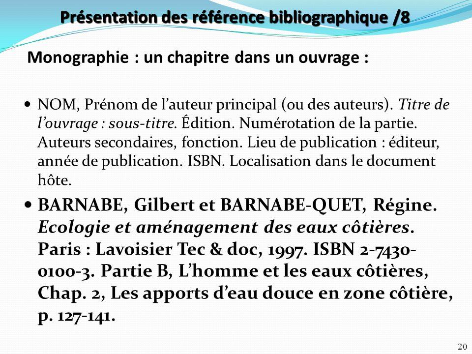 Présentation des référence bibliographique /8