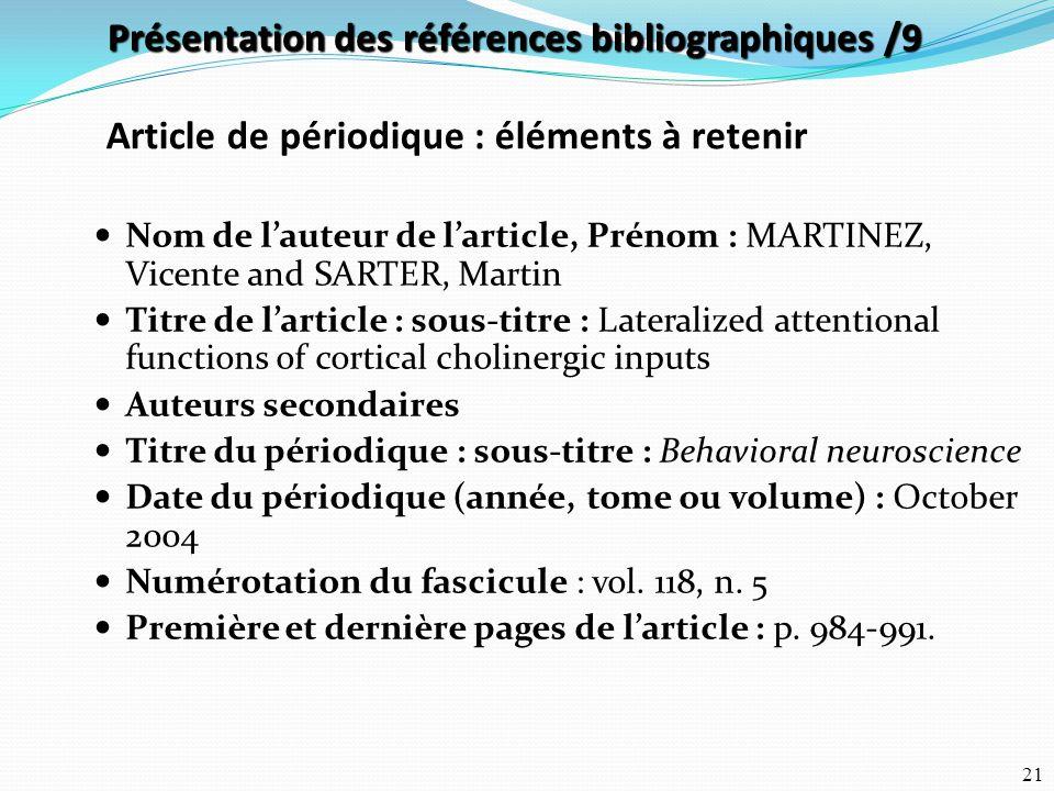 Présentation des références bibliographiques /9