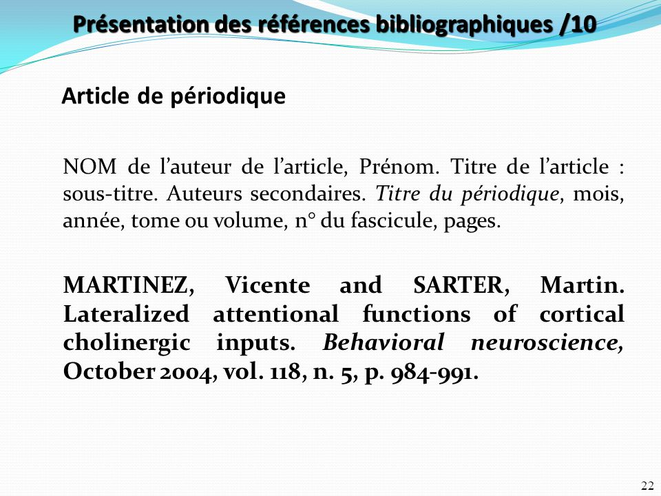 Présentation des références bibliographiques /10