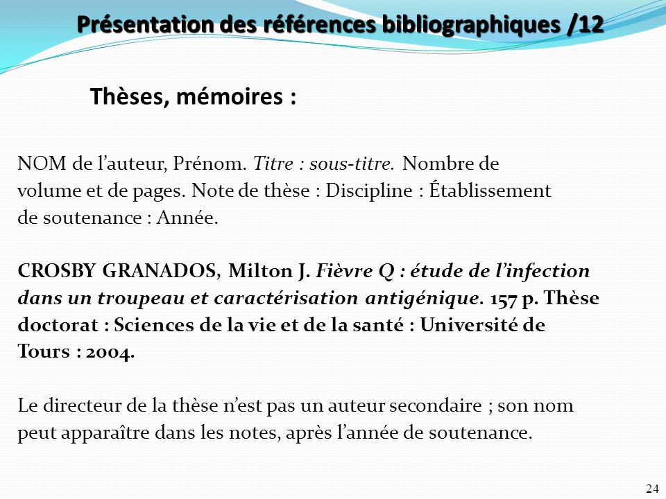 Présentation des références bibliographiques /12